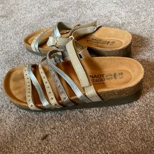 Naot slide on sandals with velcro